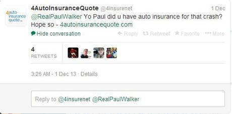 4AutoInsuranceQuote Real Paul Walker Tweet