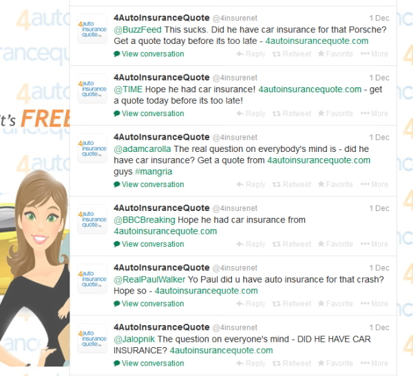 Screenshot of 4AutoInsuranceQuote.com Paul Walker Tweets